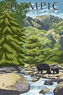 Olympic National Park, Washington - Bear Family and Creek (12x18 Art Print, Wall Decor Travel Poster)