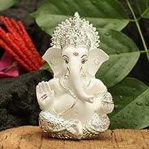 CraftVatika Silver Plated Lord Ganesha for Car Dashboard Statue Ganpati Figurine God of Luck & Success Home Decor Gifts (S...