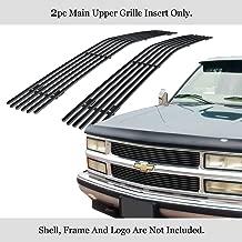 APS Compatible with 1994-1999 Chevy Blazer C K Pickup Suburban Tahoe Main Upper Stainless Steel Black 8x6 Horizontal Billet Grille Insert N19-J60756C