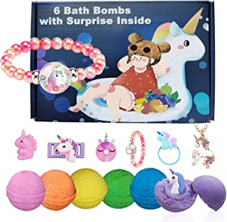 Bath Bombs for Kids with Toys Inside Unicorn Gifts Box for Girls with 6 Surprise Necklace Bracelet Hair Rope Pen Natural F...