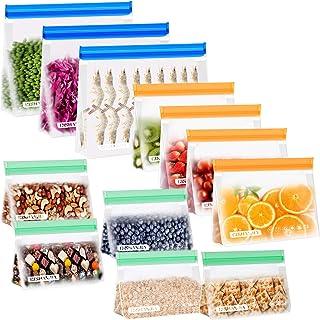 CISHANJIA Bolsa Silicona Reutilizables 12 piezas Bolsas Congelar Reutilizables sin BPA Bolsas de Almuerzo Ziplock Snack ...