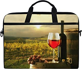 Kaariok Still Life Red Wine Glasses Grape Vineyard Wooden Keg Laptop Shoulder Bag 13-14.5 Inch Sleeve Case Messenger Tablet Carring Briefcase with Handle Strap for Men Women Boys Girls