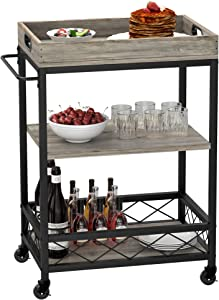 IDEALHOUSE Bar Cart for The Home with Wine Rack, Utility Kitchen Serving Cart with 3 Tiers Storage Shelves, Removable Tray, Glass Bottle Holder and Wheel Locks