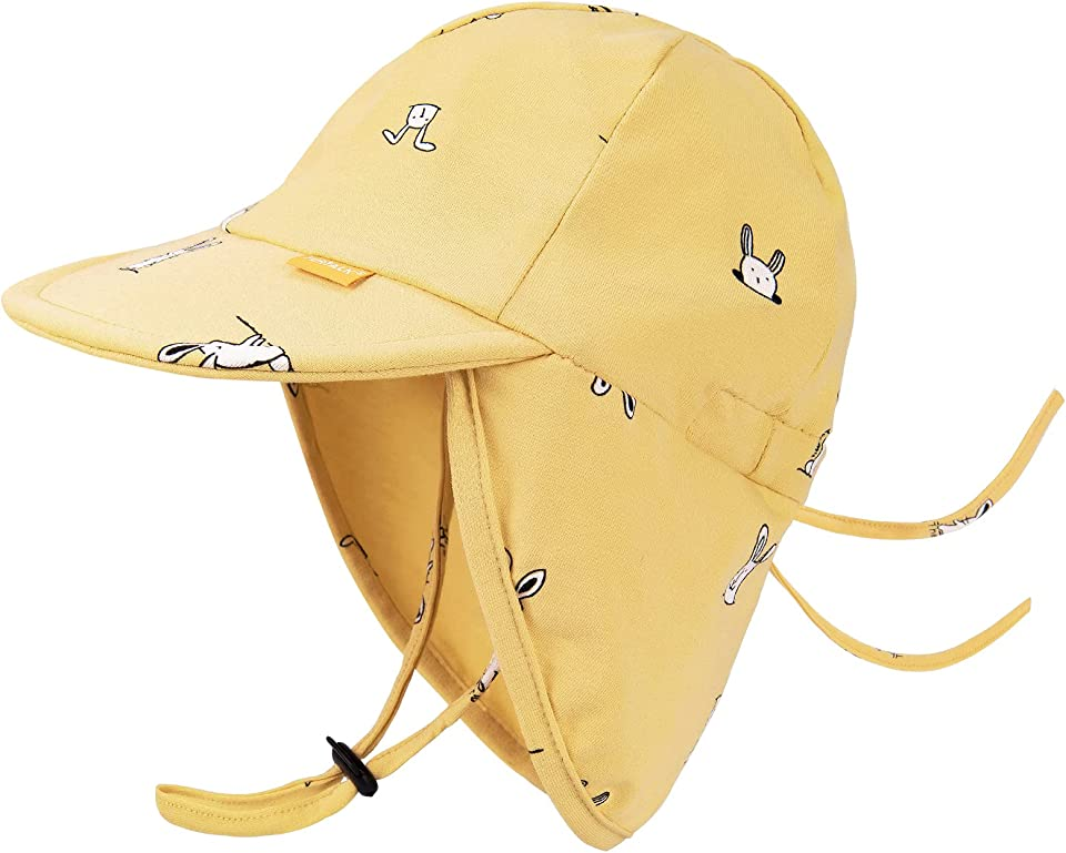 Cotton Baby Toddler Sun Hat UPF 50+ All-Day UV Protection Kids Unisex Girls & Boys Summer Hats Cap with Adjustable Chin Straps Neck Flap