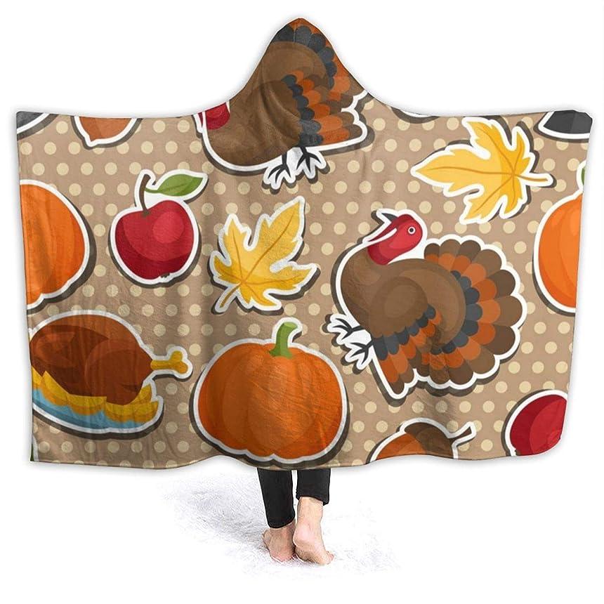 欠員コンプライアンス足音YONHXJLAZ Happy Thanksgiving Day Seamless Pattern 毛布 フード付き ブランケット 大判 タオルケット厚手 オールシーズン快適 軽量 抗菌防臭 防ダニ加工 オシャレ 携帯用,車用,オフィス用