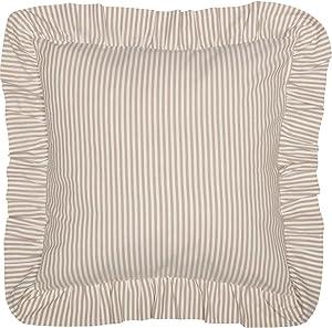 "Piper Classics Farmhouse Ticking Stripe Euro Sham, Taupe, 26"" x 26"", Ruffled Beige Stripe Pillow Cover"