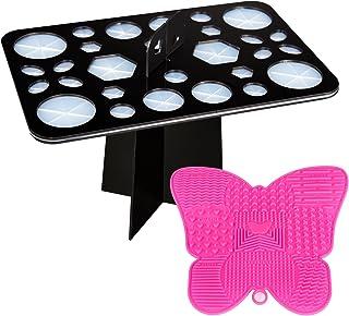 YaFex Makeup Brush Holder, Makeup Brush Drying Organizer Tool with A Mini Makeup Brush Cleaning Mat