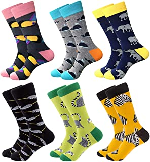 Mens Colorful Fun Dress Socks - Funky Pattern Socks Novelty Smart Design Cotton Casual Calf Socks 6 Pairs