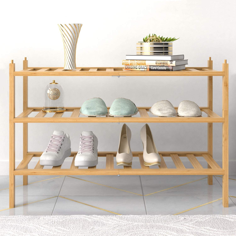BAMFOX 3-Tier Shoe Rack,Bamboo Stackable Shoe shelf Storage Organizer For Entryway, Hallway, and Closet