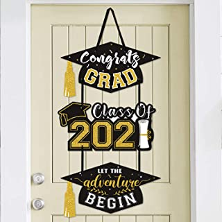 2020 Graduation Party Door Sign Cutouts Congrats Grad Class of 2020 Adventure Begins Wall Porch Hanging Celebration Decora...