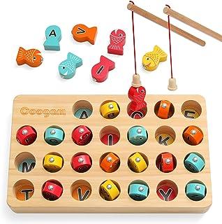 بازی ماهیگیری مغناطیسی چوبی Coogam ، اسباب بازی خوب حرکتی ، اسباب بازی مرتب سازی بر اساس حروف الفبا ، مرتب سازی بر اساس رنگ ، نامه های مونته سوری شناخت هدیه پیش دبستانی برای 2 3 کودک 4 ساله یادگیری زود هنگام کودک با 2 قطب