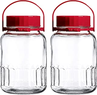 1 Gallon Glass Jar With Lid Wide Mouth Airtight Plastic Pour Spout Lids Bulk-Dry Food Storage Pickling Mason Jar Canister ...