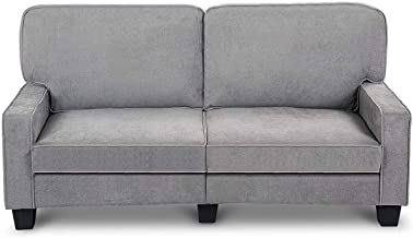 Moccha Upholstered Loveseat Sofa Bed Couch, Luxurious Plush Fabric, Contemporary Modern Overstuffed Classically Style, Cou...