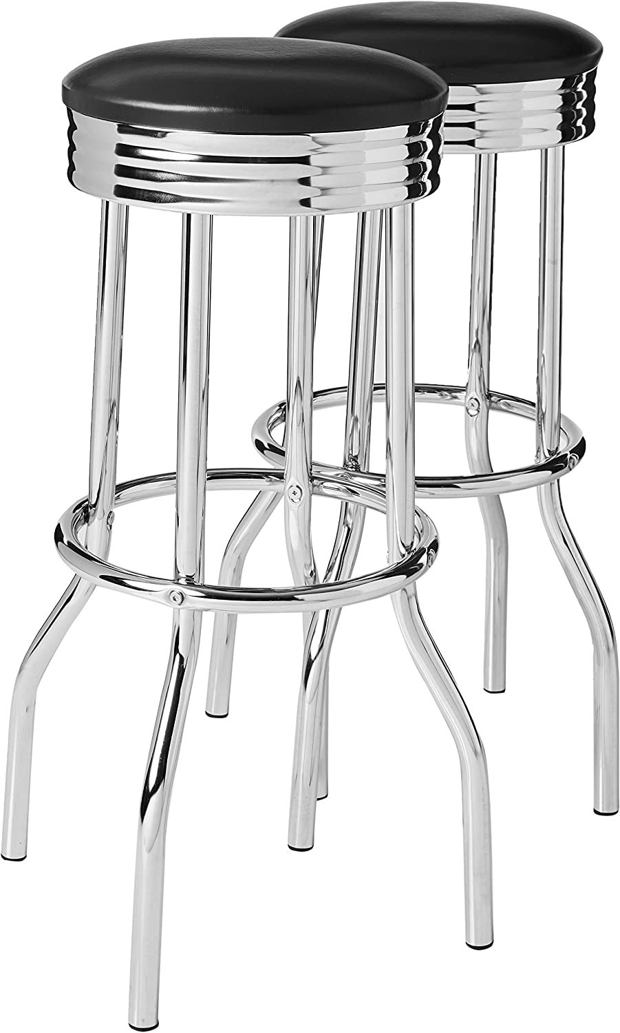 Crown Mark Direct sale of manufacturer Retro Barstool Bar Chrome Black Height And New York Mall