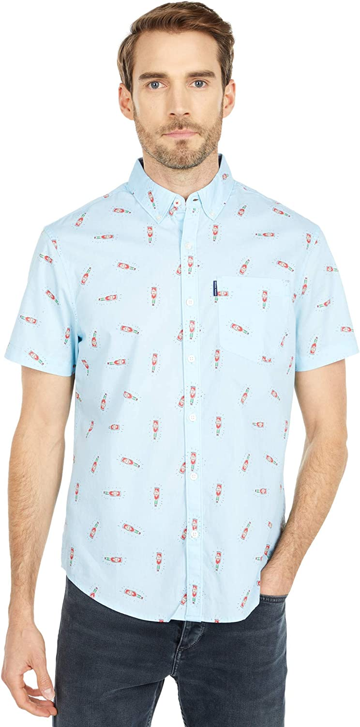Original Penguin Mens Short Sleeve Printed Button Down Shirt