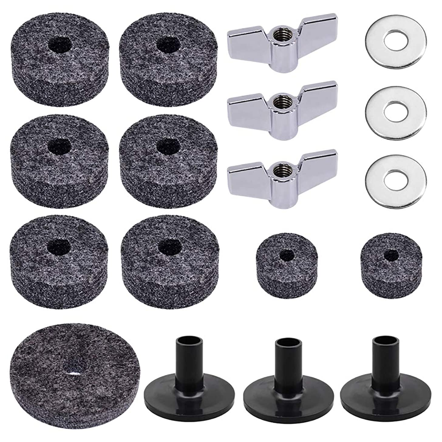 SUPVOX 18pcs Drum Cymbal Accessory Set Cymbal Felt Washers Cymbal Sleeves Wing Nuts Hi-hat Felts (Grey)