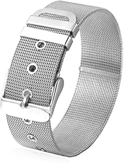 U7 Women Men Stainless Steel/18K Gold Plated Mesh Chain Belt Buckle Bracelet Bangle, Customized Name Initial Jewelry Gift