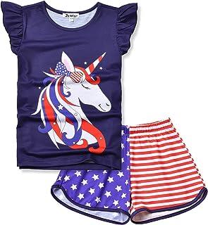 Jxstar Girls Pajamas Sets Unicorn Pjs Flutter Sleeve Night Shirts for Kids