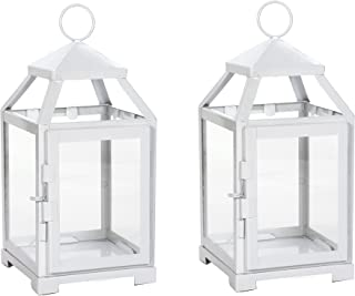 Hosley Set of 2 Clear Glass and Iron White Color Classic Style Lantern 12 Inch High Ideal Gift for Weddings Bridals Special Occasions Parties Aromatherapy and Spa Settings O4
