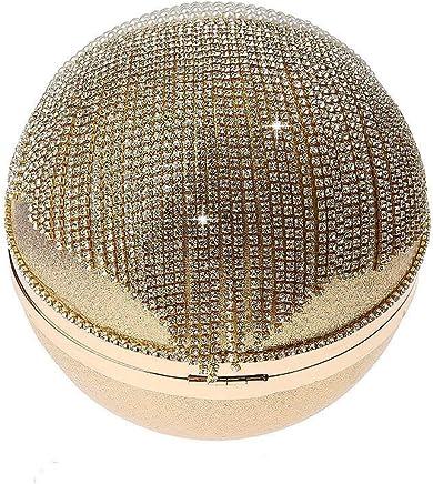 Ladies Handbag Tassel Rhinestones Evening Bag Finger Ring Diamonds Wedding Clutch Handbags Chain Shoulder Party (Color : Gold)