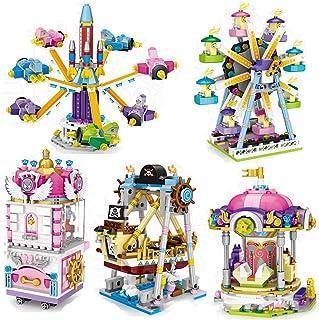 Yyz City Series Mini Street View Parque de Atracciones Clip Doll Machine Carrusel Avión Rueda de la Fortuna Barco Pirata Bloques de Lucha Juguetes educativos Regalo de cumpleaños
