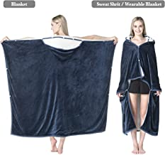 Bencier Sweatshirt Sherpa Wearable Hood Throw Blanket Super Soft Warm Plush Office School Home Nap Sleep Blankets(Royal Blue)