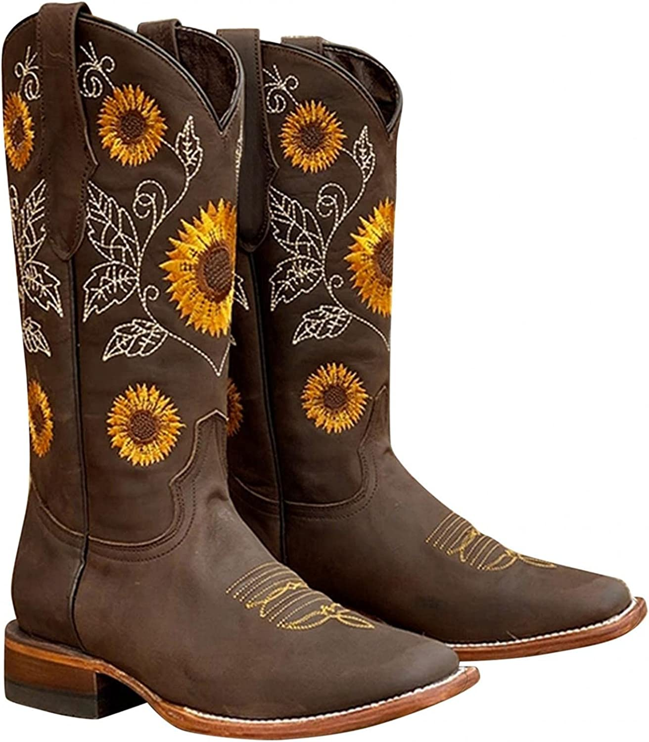 Cowboy Boots for Women Floral Embroidered Western Casual Shoes Cowgirl Boots Low Heel Mid Calf Boots Warm Platform Boots