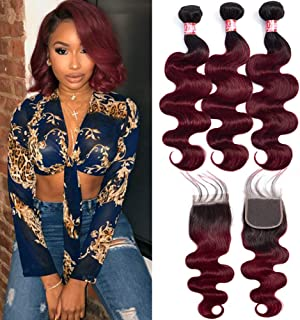 """XCCOCO Hair Black to Wine Red Ombre Two Tone Body Wave Hair 3 Bundles with 4""""X4"""" Lace Frontal Brazilian Body Wave Virgin Lace Closure and Hair Bundles (T1B/99J,14"""