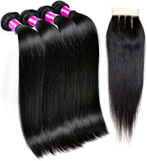 Queen Plus Peruvian Straight Hair 4 Bundles with Closure 7A Unprocessed Peruvian Virgin Hair with Closure Three Part 450g/lot (16 18 20 22 with 14)
