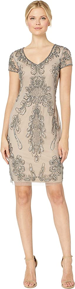 4e2ce08133ab Adrianna papell off the shoulder lace sheath dress with contrast ...