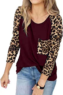 Women's Leopard Print Tops Raglan Long Sleeve Pocket Casual Basic Shirts Soft Tunics Top