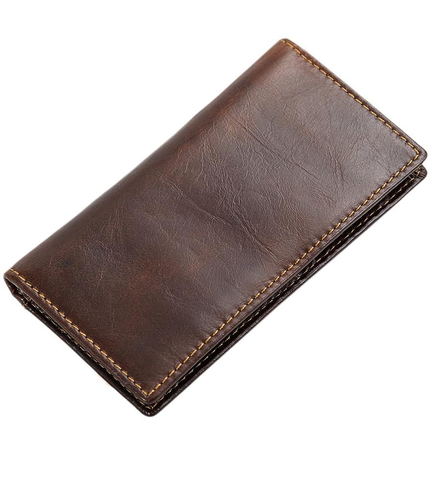 Men's RFID Blocking Genuine Leather Long Slim Bifold Wallet w Keychain -b1w007ch