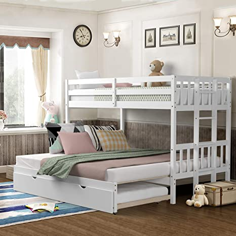 Amazon Com Giantex Twin Over Pull Out Bunk Bed With Trundle Solid Wood Bunk Bed With Ladder Extendable Twin Full Queen King Beds With Safety Rail Bunk Beds For Kids Teens White Kitchen Dining