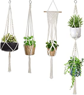 alladinbox 4 pack macrame plant hanger indoor outdoor hanging planter basket flower pot holder cotton rope 4 legs suitable for pots up to 8 inches in diameter(plant & pot not included)