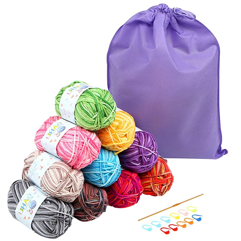 LIHAO 10 Skeins Multi Color Acrylic Yarn for Crafting Projects