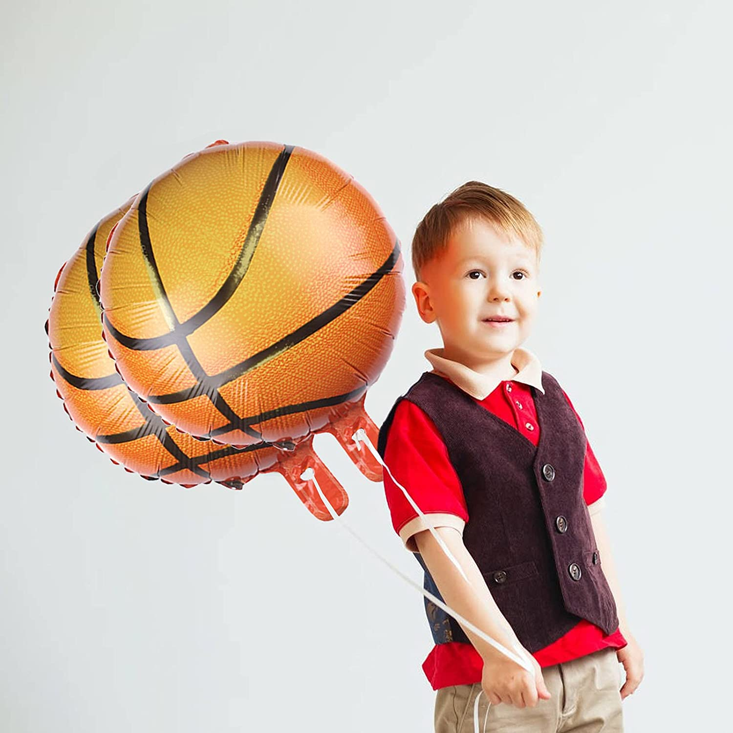 HaiMay 20 Pieces Basketball Balloons Foil Mylar Basketball Balloons for Baby Shower Birthday Party Sports Themed Party Decor Supplies 18 Inch