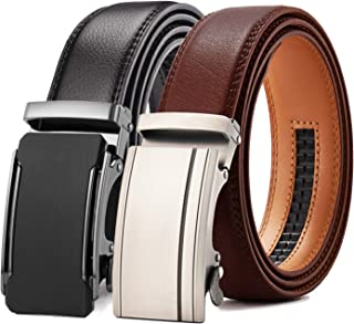 """Ratchet Click Belt 2 Packs with Sliding Buckle 1 3/8"""" in Gift Set Box - Trim to Adjustable Perfect Fit"""