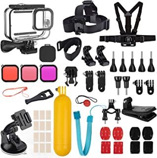 Kupton Accessories Kit Bundle for GoPro HERO9 Black, Waterproof Housing + Filters + Lens Cover + Head Chest Strap + Suctio...