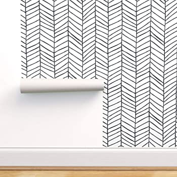 Spoonflower Peel And Stick Removable Wallpaper Herringbone Black And White Feather Chevron Nursery Geometric Large Scale Print Self Adhesive Wallpaper 12in X 24in Test Swatch Amazon Com