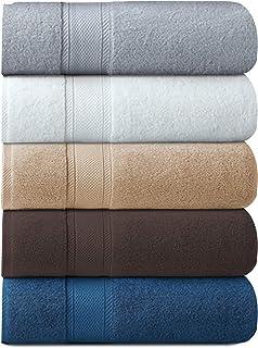 Cozyone バスタオル フェイスタオル タオル 綿100% 吸水 速乾 耐久性 大判 肌触り抜群 ホテル仕様 5枚セット 60cm×120cm(ホワイト+グレー+ベージュ+ブラウン+ダークブルー)