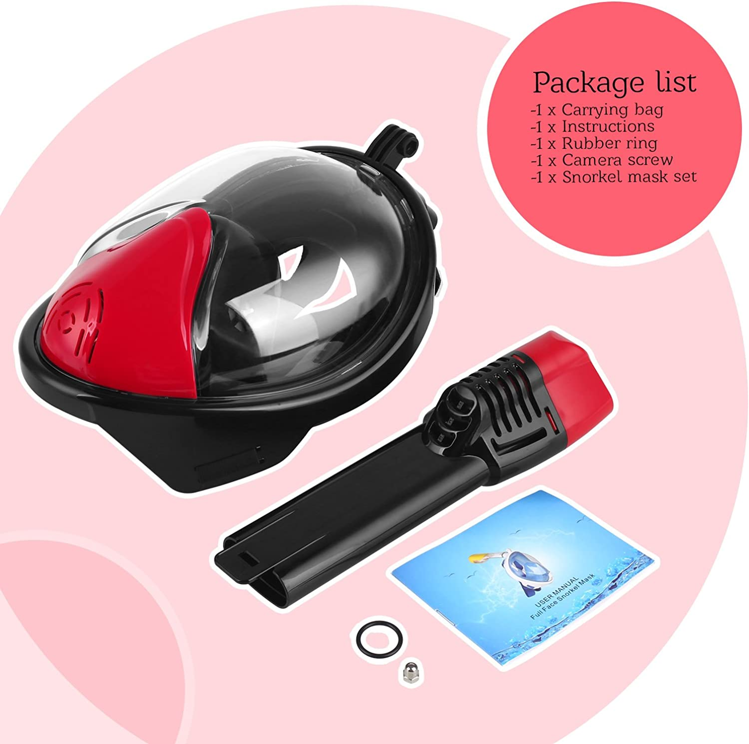 Hongfei Silicone PVC Full Face Design for Diving Black Red Comfortable Breathable Swimming Safety Sporting Equipment