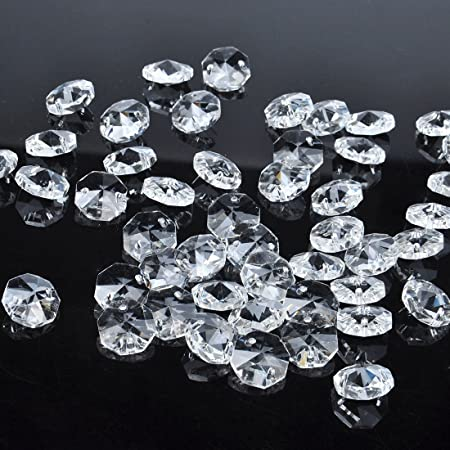 125 x 14MM Clear Asfour Crystal Beads 1082 Octagon 2 Hole Shabby Chic Chandelier