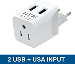 Turkey, Egypt, Iceland Travel Adapter Plug by Ceptics with Dual USB - Type C - Europe - Usa Input - Light Weight - Perfect for Cell Phones, Chargers, Cameras and More