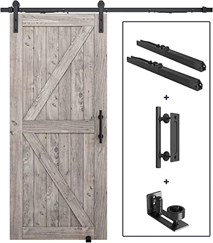 """wholesale 6.6 FT Pre-Drilled Soft Close Sliding Barn Door Hardware Kit, Handle and Floor Guide Bundle - Smoothly and Quietly - Simple and popular Easy to Install - Fit 36''-40"""" Door online Panel (J Shape) sale"""