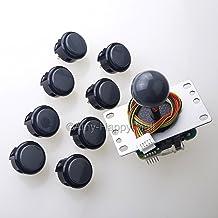 Sanwa JLF-TP-8YT Joystick + 8 piece Sanwa OBSF-30 Push Buttons Bundle Kit Color: Gray