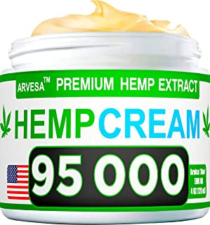 Hemp Pain Relief Cream – 95 000 Blend – Natural Hemp Extract Relieves..