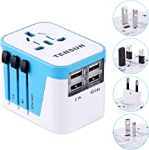 International Travel Adapter, All in One Universal Worldwide European Power Plug with 2.4A 4-Port USB Wall Charger for USA EU UK AUS Blue