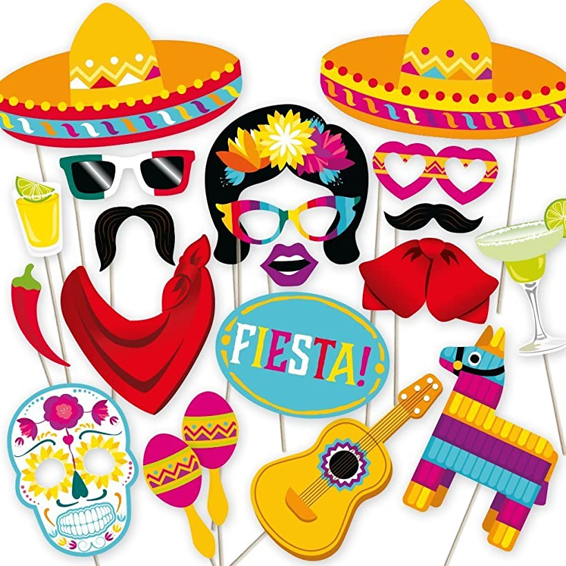 Fiesta Photo Booth Props by PartyGraphix. Perfect for Mexican Photo Booth Props Stand. Fiesta Party Supplies. Kit Includes 32 Pieces.