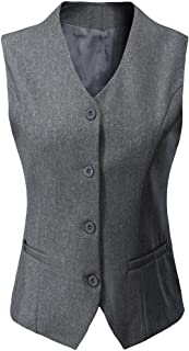 Foucome Womens V-Neck Suit Vest Two Button Formal Business Tuxedo Waistcoat Sleeveless Jacket Coat Top