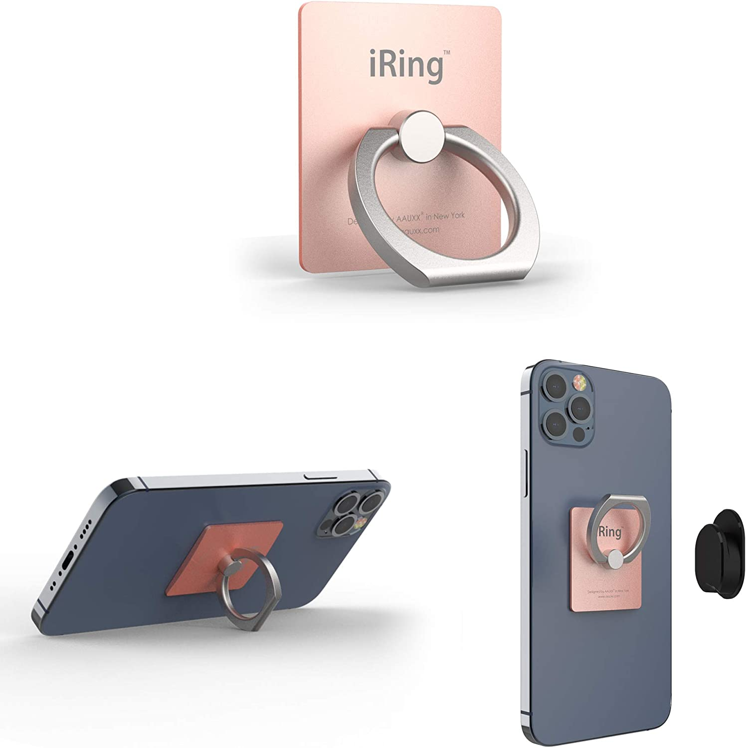iRing Original - AAUXX Cell Phone Ring Grip Finger Holder, Mobile Stand, Kickstand. iPhone, Android, Smartphones, Tablets.(Rose Gold)